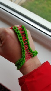 It's a bracelet with ladder finger link of course, modelled by me. The only modelling I will ever do!